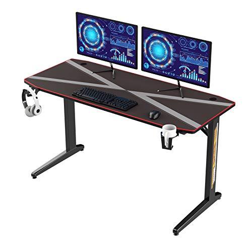 DlandHome - Scrivania da gaming da 139,7 cm, con tappetino per mouse, gancio per cuffie, porta tazza e organizer dei cavi, tavolo da gioco ergonomico e moderno