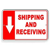 Promini Shipping and Receiving Arrow Down Metal Sign 8x12 Inch Aluminum Sign
