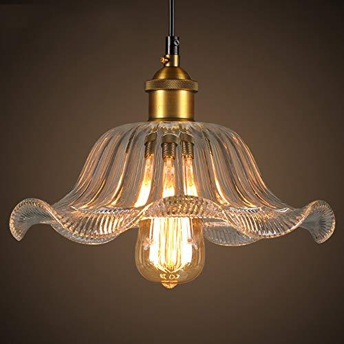 Crayom Lámpara colgante Petal Vidrio Colgante Luces Shade Suspension Lámpara con E27 Base de latón Edison Light Kitchen Light Lights Lighture Lámpara de techo de lámpara para Isla Cocina Altura Ajusta