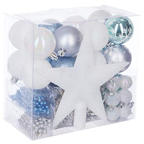 Th/ème Couleur : Blanc Kit 44 pi/èces pour d/écoration Sapin : Guirlandes WEB2O Lot d/éco No/ël Bleu Celestine et Argent Gris Ardoise Boules et Cimier