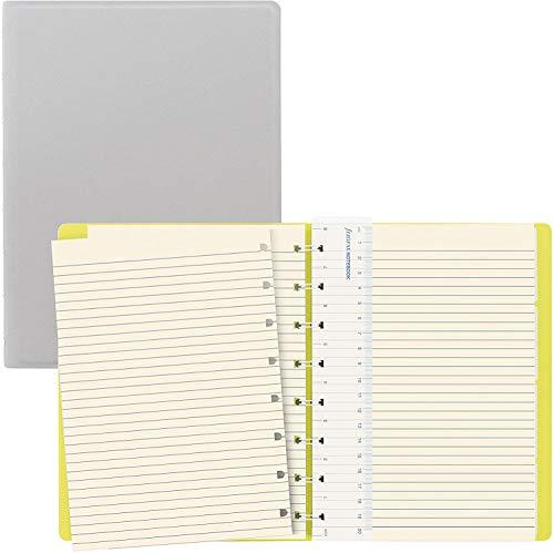 Filofax B115074U Saffiano Fluoro Notizbuch, A5, 112 bewegliche Seiten, cremefarben Inklusive 4 Indexen (eins mit Tasche) und Lesezeichen, Grau / Gelb