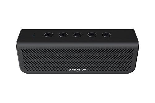 Creative Metallix Plus, tragbarer Dualtreiber Bluetooth 4.2 Lautsprecher mit 24 Stunden Akkulaufzeit, satten Bässen, IPX5 Wasserschutz, Stereokopplung und integrierter Freisprecheinrichtung (Schwarz)