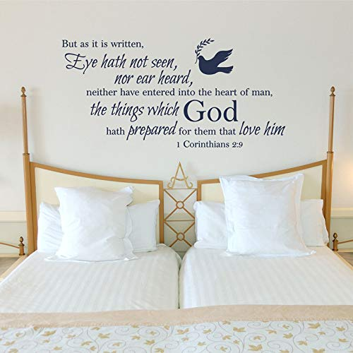 mlpnko Wall Stickers 1 corinthians 2:9 bible verse wall decal sticker home bedroom&living room art decoration117x57cm