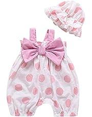 Hot!! Newborn Kids Girls Romper+Hat Set MS-SM Infant Baby Sleeveless Straps Dot Print Bow-knot Sunsuit Bodysuit Outfits Clothes 2PCs for 0-2Y