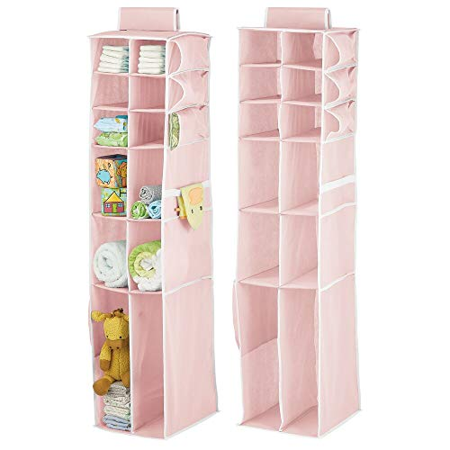 mDesign Long Soft Fabric Over Closet Rod Hanging Storage Organizer with 12 Divided Shelves, Side Pockets for Child/Kids Room or Nursery, Store Diapers, Wipes, Lotions, Toys - 2 Pack - Pink/White