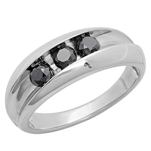 Dazzlingrock Collection - Anillo de boda para hombre (1,10 quilates, 3 piedras, diamante redondo negro, 1 quilate, plata de ley)