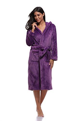 Luvrobes Women's Plush Fleece Hooded Robe Ultra-Soft Long Bathrobe