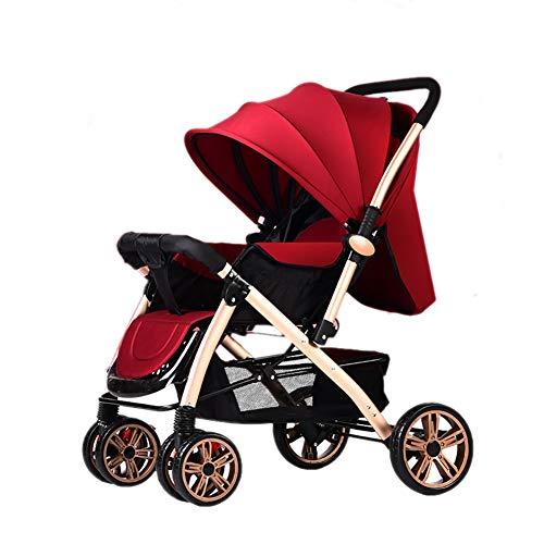 Poussetter Yhz@ Baby Pliante légère Landau 0/1-3 Ans Chariot Enfant Simple Portable (Couleur : Vin Rouge)