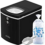 Chilla Portable Countertop Ice Maker - 25 lbs of Ice Per Day - Chewable, Delicious Bullet Ice - Reliable and Quiet - For Home or Office - Comes with 5 Reusable Ice Bags for Ice Storage