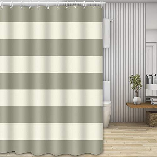 Molbory Duschvorhänge, Waschbar Badvorhänge aus Polyester, Wasserdicht Anti-Schimmel, Anti-Bakteriell mit 12 Duschvorhangringe Design, 180 x 180cm(Stripes)