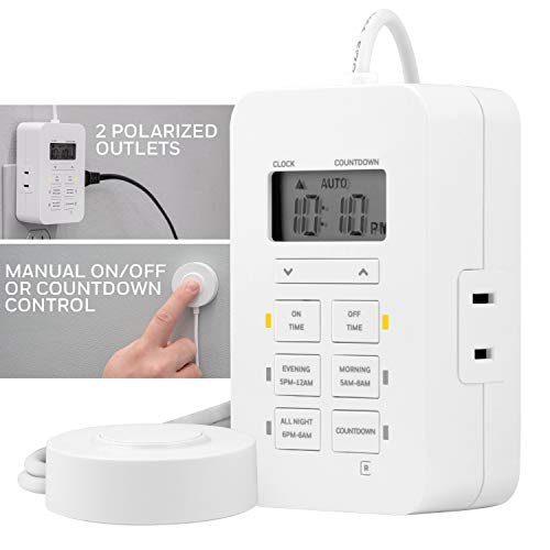Honeywell UltraPro Indoor Plug-in Digital Timer, ON/Off Button, Custom Settings, Presets/Countdown, 2 Polarized Outlets, Ideal for Lamps, Hard-to-Reach Lighting, Seasonal, LED, 45183, White