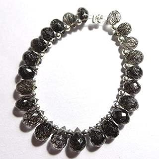 Jewel Beads Natural Beautiful jewellery 23 Pcs Lot Natural Seloni Black Rutilated Quartz Untreated 7x5-9x6 MM Faceted Tear Drop ShapeCode:- JBB-42955