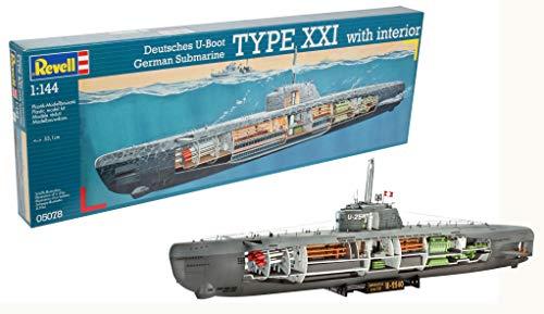 Revell RV05078 Modellbausatz Schiff 1:144 - Deutsches U-Boot Typ XXI mit Interieur im Maßstab 1:144, Level 4, originalgetreue Nachbildung mit vielen Details, 5078