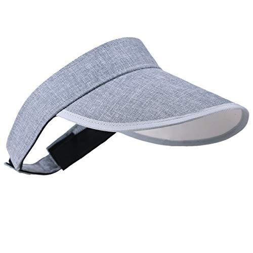 HISSHE Damen Golf Visier Strand Stroh Sonnenhut Visoren Hüte (Adjust Grau)