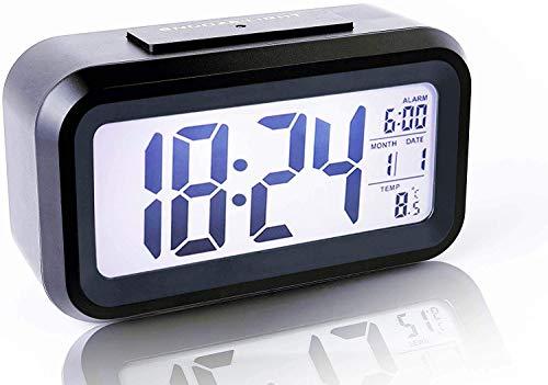 PANFREY Despertador Digital inalámbrico, Sensor Inteligente, luz Nocturna, Fecha, repetición, Temperatura, conmutable de 12/24 Horas, fácil operación, niños, Cama, Dormitorio/Viaje (Black)