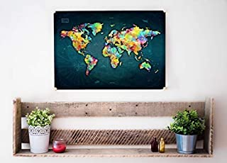 """Exty Scratch Off World Map - 24""""x17"""" 