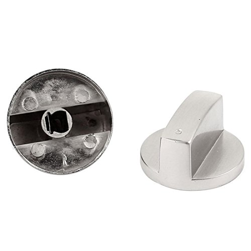 SODIAL(R) 2 Stueck Metall Kitchen Ware Gasherd, Ofen, Herd-Knopf Schalter Silber