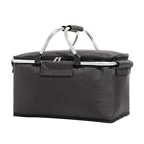 Bolsa de protección térmica plegable DHYED (42 x 23 x 23 cm), cesta de picnic con cesta de la compra, cesta de la compra con función de refrigeración, portátil, multifuncional y de gran capacidad