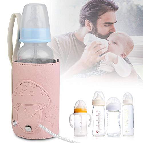 Zwindy USB Babyflaschenwärmer, Babyflaschenwärmerabdeckung Babymilchheizung Milchflaschenheizung, tragbare Milchheizungsabdeckung Babyflaschenwärmer, für Mineralwasserflaschen Milchboxen(Pink)