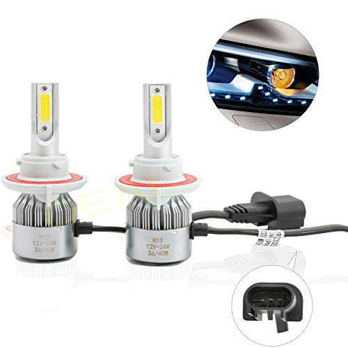 DEAL AUTO ELECTRIC PARTS 2pcs 9008/H13 6000K White 7200LM Aluminum Housing LED COB Bulbs Conversion Kit For Headlights High Low Dual Beam DC 12V/24V IP67 Waterproof Pack of 2 Left+Right Replacement