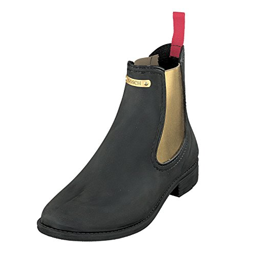 GOSCH SHOES Damen Chelsea Gummistiefel Boots Stiefelette 7105-310 in 4 Farben (38, Schwarz/Gold)