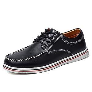 [Tisomen] ウオーキングシューズ メンズ レースアップシューズ ジュニア スニーカー 本革 モカシン 革靴 デッキシューズ 無地 アウトドア スリッポン カジュアル 大きいサイズ 幅広い 通勤 通学 軽量 通気 ブラック 28cm 黒46