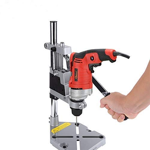 Drill Press Stand 2 Holes in Aluminum, Universal Bench Clamp Drill Press Stand, Workbench Repair Tool for Drilling Depth up to 60mm Clamp Adjustable Drill Stand Drill Press Workbench Drill Press
