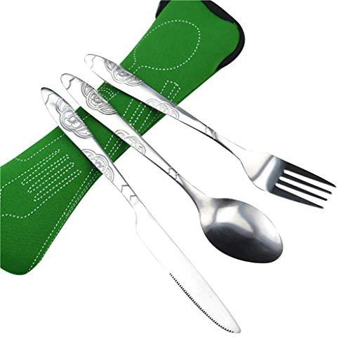 Ogquaton - Juego de cubiertos portátil de acero inoxidable con funda de transporte portátil para viaje, camping, escuela, oficina, duradero y útil