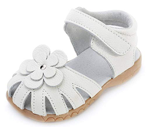 Sandalias con Punta Cerrada Niña Verano Zapato con Velcro Niños Zapatos de Playa con Flores,tamaño:20-32