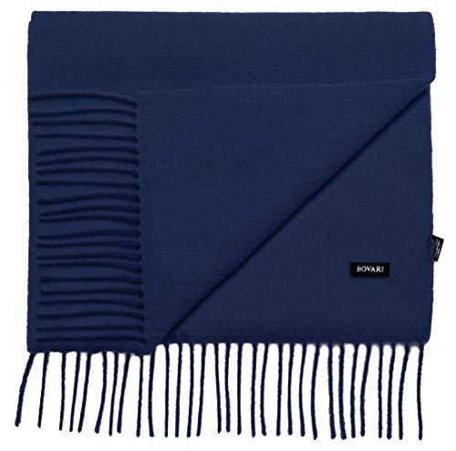 Bovari Kaschmir Schal Herren – 100% Kaschmir/Cashmere – Premium Qualität – 180 x 31 cm - viele Farben (navy blau)