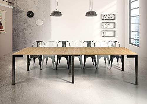 Milani Home s.r.l.s. Tavolo da Pranzo Moderno di Design A CONSOLLE CM 90 X 50/100/150/200/250/300 Struttura Nera Piano Naturale per Sala da Pranzo