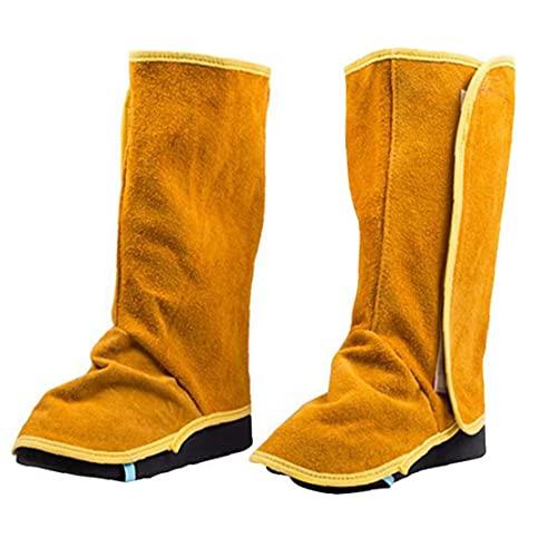 Soldadura polainas de cuero de vaca de Altas Prestaciones Cubiertas zapato de cuero resistente a la llama de soldadura Spats 1Pair, mantenimiento de las instalaciones y los zapatos SeguridadSeguridad