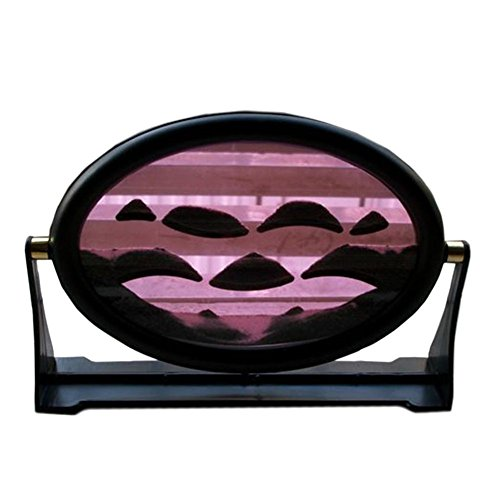 Queenie 3D Dynamic Continuously Changing Pink Liquid Moving Sandscape Sand Art Painting Desktop Art Decoration with Circular Frame