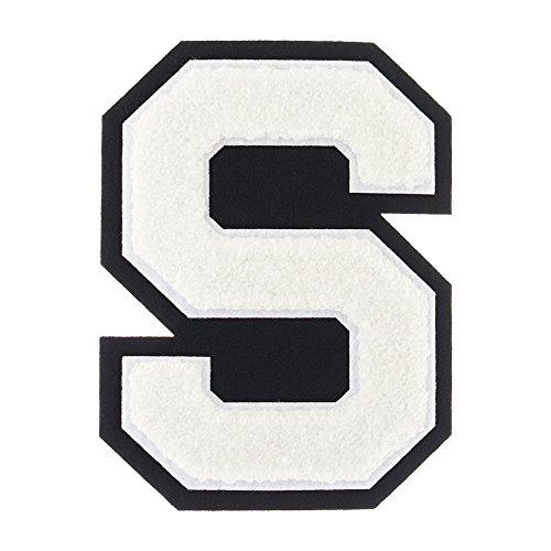 S - White on Black - 4 1/2 Inch Heat Seal/Sew On Chenille Varsity Letter