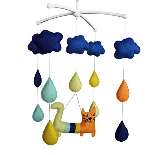 Pigeon Fleet Mobile Musical de bébé de décoration de pépinière Mobile de lit de bébé Bleu pour Les garçons et Les Filles, Gouttes de Pluie colorées