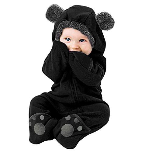 sunnymi Overalls Mäntel für Baby Jungen und Mädchen,0-24 Monate Säugling Baby Mädchen Jungen Solid Cartoon Ohren Hoodie Strampler Kleidung Fleece Rompers