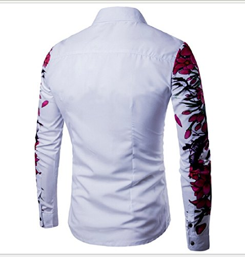 Coolred Men 3D Print Floral Modern Dress Shirt Button Down Shirts White S