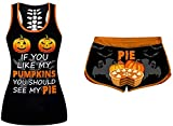Women 2 Piece Halloween Costumes If You Like My Pumpkins You Should See My Pie Tank Top + Funny Shorts Sportwear Tracksuits (Orange,Medium)
