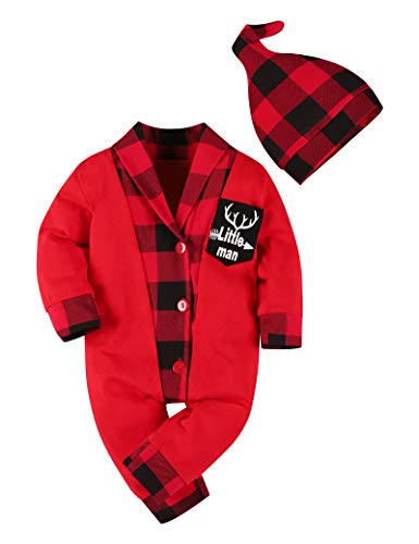 Newborn Baby Boy Clothes Red Plaid Christmas Outfit Little Man Romper Bodysuit Overall with Hat 2pc Infant Clothes(0-3 Months)