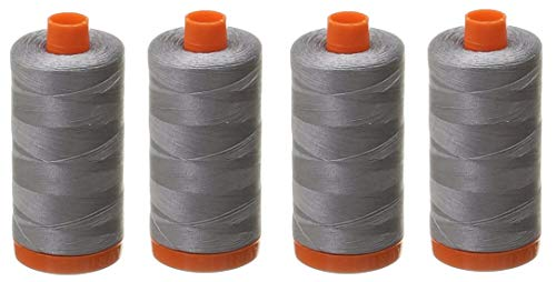 Cheapest Price! Aurifil Mako Cotton 50wt Thread Solid Grey 1422 Yard (Fоur Paсk)
