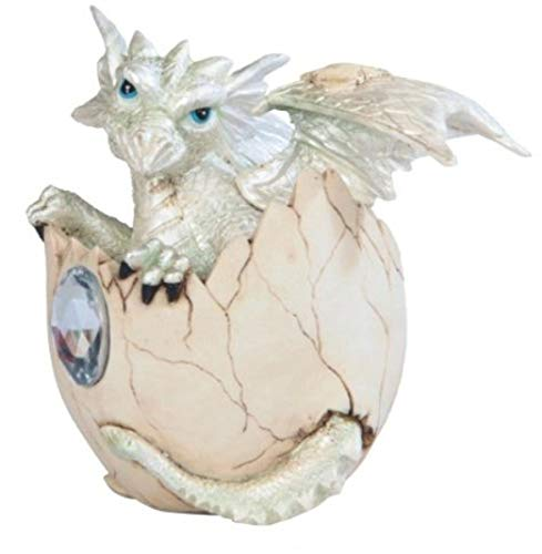 George S. Chen Imports SS-G-71472 White Baby Dragon in Eggshell with Gem Figurine, 4.25'