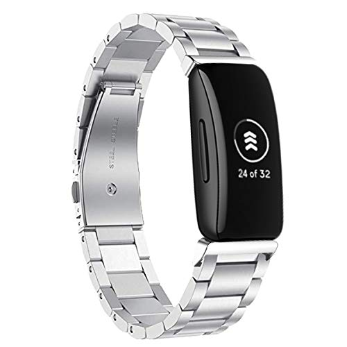 VANCHAN Armband Kompatibel mit Fitbit Inspire 2 Armband/Fitbit Inspire/Fitbit Inspire HR Armband, Edelstahl Metall Uhrenarmband Ersatzarmband für Inspire HR/Inspire 2 (Silber)