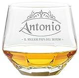 Colorfamily Bicchiere da Whisky Diamante Diamond Glass Tumbler inclinabile con Incisione Festa del papà Personalizzabile con Nome - Il miglior papà del Mondo - Regalo papà