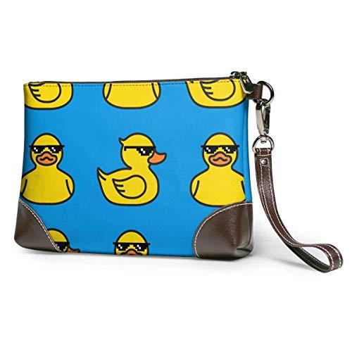 XCNGG Lindas gafas de sol, bolso de mano de cuero de pato amarillo para mujer, carteras ligeras y duraderas para ir de compras, 8 x 5,5 x 1,5 pulgadas