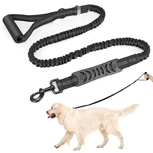 oneisall Dog Leash with Two Handles,Heavy Duty Elastic Bungee Dog Training Leash with Seat Belt, 4ft-6ft Leashes for Medium Large Breed Big Dogs