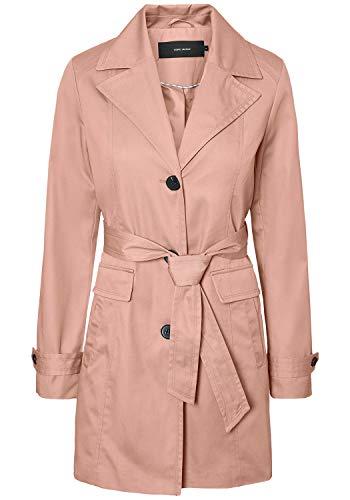 VERO MODA Tracey Damen Trenchcoat Mantel Übergangsjacke mit Reverskragen und Gürtel, Größe:L, Farbe:Misty Rose