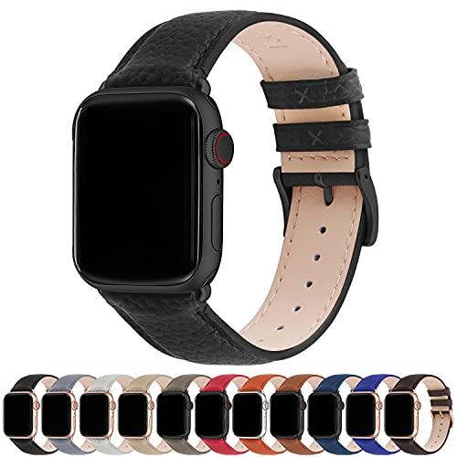 Fullmosa Kompatibel Apple Watch Armband 42mm 44mm 38mm 40mm, Apple Watch Lederarmband, iWatch Armband Ersatzarmband für iWatch Serie SE/6/5/4/3/2/1, Schwarz + Rauchgraue Schnalle 42mm/44mm