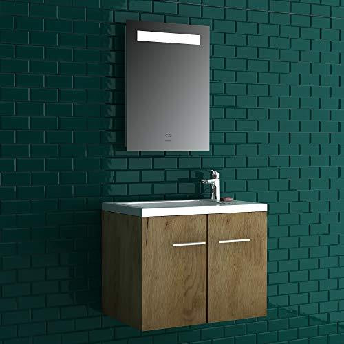 Alpenberger complete badkamermeubelset 50 x 33 cm | wastafel met geïntegreerde overloop van gegoten mineraal + onderkast met softclose functie + spiegel met LED-verlichting en touch-schakelaar eiken