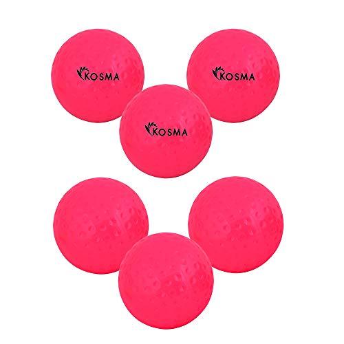 Kosma Set von 6 Dimple Hockey Ball | Übungsbälle aus PVC für den Außenbereich (Pink)