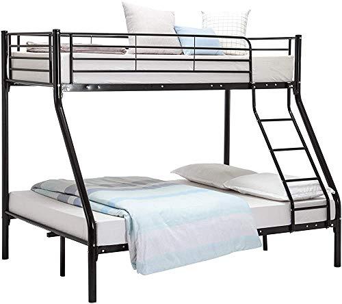 Bedroom Double Bed Frame Metal Frame bunk Bed,Black